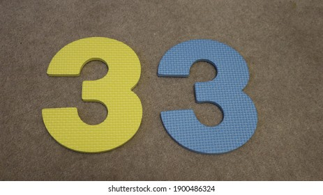 Thirty three in large foam numbers