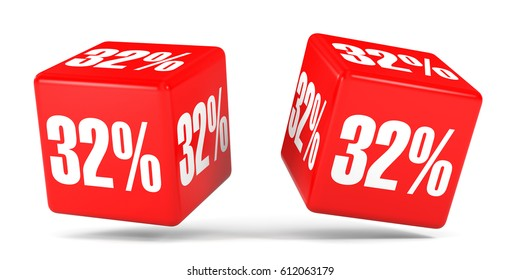 Thirty two percent off. Discount 32 %. 3D illustration on white background. Red cubes.