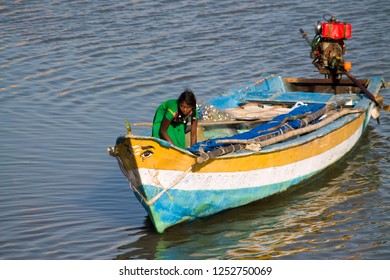 Thiruvallur District Pulicat lagoon or lake the famous Bird Sanctuary, Tamil Nadu India, February 04, 2018: Men and Women Fishermen Activities at the Lake