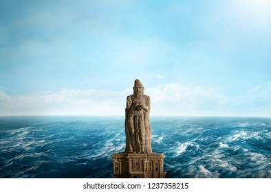 The Thiruvalluvar Statue, Kanyakumari ,Tamil Nadu India is of the Tamil poet, philosopher and author of the Thirukkural. It is at the southern most tip of India