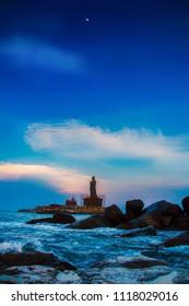 Thiruvalluvar Statue on the tip of India. Kanyakumari
