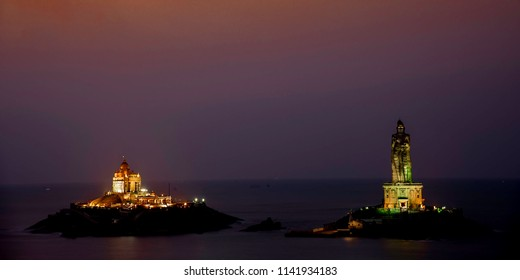 Thiruvalluvar Statue and vivekanand rock memorial view from end point of india