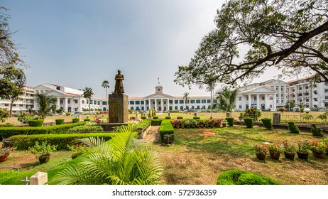 THIRUVANANTHAPURAM, INDIA - JANUARY 13, 2017: View of the Kerala Government Secretariat- the seat of administration of the Government of Kerala, housing important ministries and bureaucratic offices.