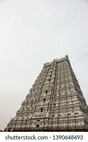 Thiruvannamalai temple's Raja Gopuram front side angle view.