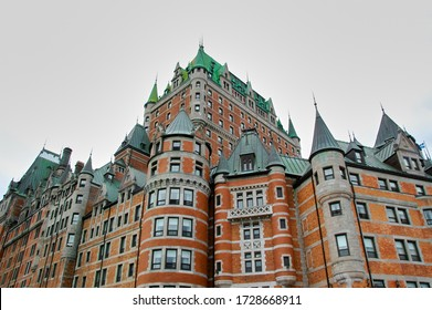 This 18th century building has become a popular hotel in Quebec City. With its forms it testifies to a past rich in history. We see there only part of the building. Quebec, Canada; May 1, 2010.