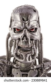 This is a 7 inches tall action figure by Neca Toys. This plastic model represents the T-800 Endoskeleton from the Terminator 2 movie (1991). / Terminator head / Kom�¡rom, Hungary - 29th June 2014