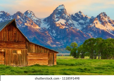 This abandoned barn in the Mormon Row area of Wyoming is set against the background of the Grand Tetons.  It is on the National Registrer of Historic places.