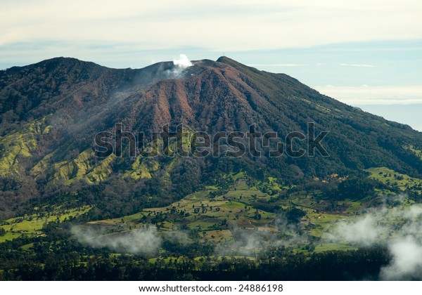 This active volcano can be seen from the back side of the Irazu Volcano in Costa Rica