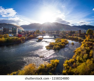 This is an aerial morning view of the Higgins Street Bridge in Missoula, Montana on a beautiful fall day in Western Montana.