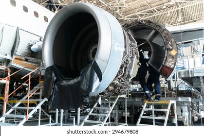 This airplane is disassembled to basic parts and workers and engineers are performing repairs, fixes, modernization and renovation  in the Lufthansa Technik in Sofia, Bulgaria, May 19, 2014.