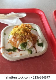 This amazing dish is Raaj kachori and served at Haldiram's India. very tasty food, one should try it once.  Also Haldiram's restaurants are common across the world with franchises.  Try indian food.