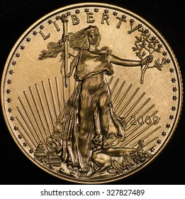 This American Gold Eagle Walking Liberty was shot on a black background using axial lighting.