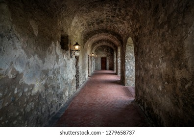 This arched convent cloister is part of Mission Concepcion, established at San Antonio, Texas in 1731 by Spanish Franciscan friars.