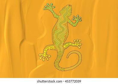 This artwork depicts a Gecko. The wavy lines on the background of the painting represent the sand.