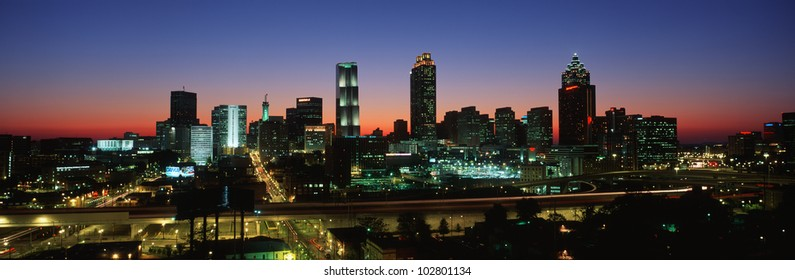 This is the Atlanta skyline in the mid 90's. It is the view at dusk.