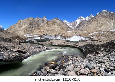 This is Baltoro Glacier belong K2 concordia base camp  trekking , Pakistan