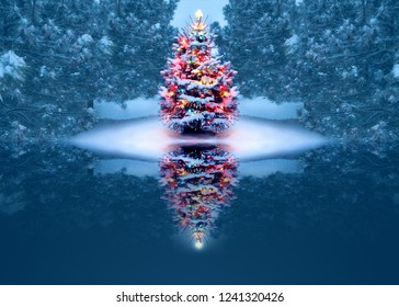 This beautifully decorated outdoor Christmas Tree magically reflects in the small frozen lake and is surrounded by snow covered pine trees.