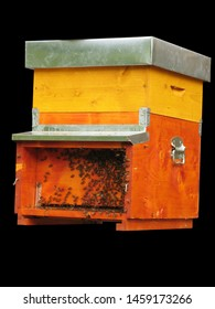 This beehive is made of wood and has the shape of a box. The beehive is yellow and orange. Bees live inside the beehive and make honey.