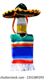 This beer bottle is wearing a poncho and sombrero getting ready for the Mexican celebration of Cinco de Mayo.