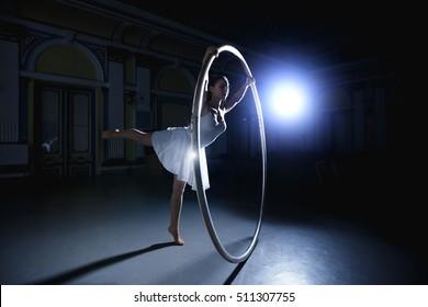 This is a big hula hoop performer