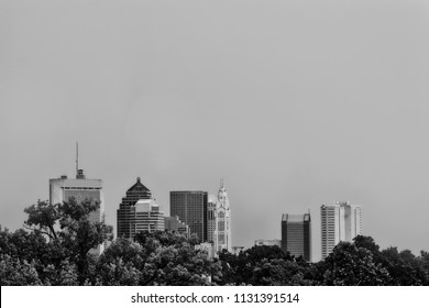This black and white image of the Columbus, Ohio skyline has plenty of room for copy space.  This is a view from the north looking south.