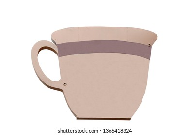 This blank coffee cup sign is isolated on white and is waiting for your message to be added to the outside of the cup.