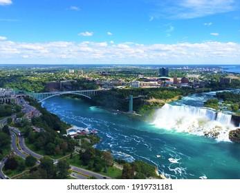 This is a breathtaking aerial view of Niagara Falls, Canada