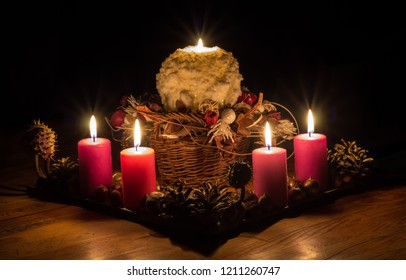 In this bright Advent time, we light up four candles. Four candles symbolize four Advent weeks. The fifth candle symbolizes the Virgin Mary, the mother of Jesus Christ.