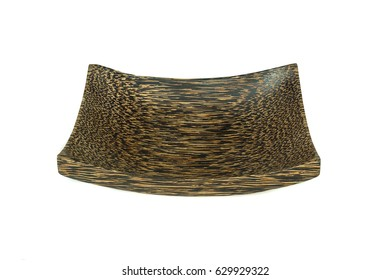 This is a brown wooden plate with wood texture isolated on a white background.