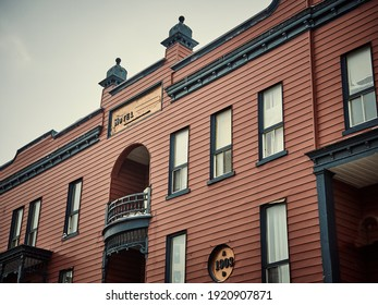 This building made of wood dates from 1903. It is very beautiful with its carved decorations. She meets in one of the cities of the province of Quebec, Canada, January 24, 2020.