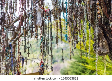 This is a capture of a branch of a tree which hold a lot of rosaries. Faithful people come to this tree and put their wish on it and pray
