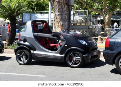This is car Smart Crossblade which is manufactured by Micro Compact Car May 22, 2015 in Cannes, France.