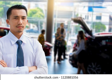 This career man saleman business inspection with car blurry background.for transport automobile automotive  image.