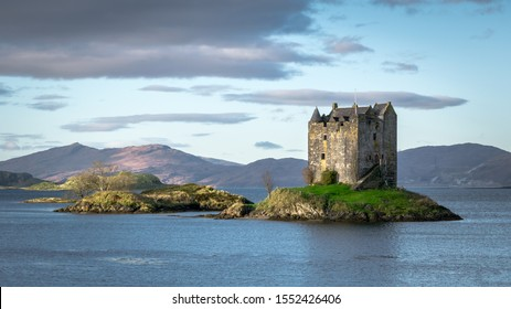 This is Castle Stalker on a small island in loch Linnhe, Scotland.  It has been used as a film location for a few movies