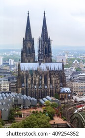 This is Catholic gothic cathedral in Cologne from the tower Panorama-Turm May 17, 2013 in Cologne, Germany.