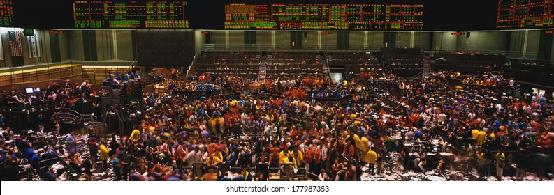 This is the Chicago Board of Trade trading floor. It is where they trade commodity futures such as corn, wheat, and gold.