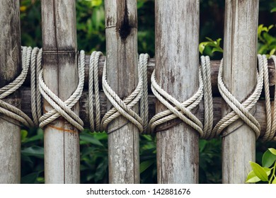 This is closeup of a bamboo wooden fence