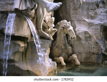 This close-up shot is the Fountain of the Four Rivers in Piazza Navonna, Rome.