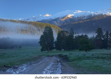 This is cold morning in Caucasus mountains in spring