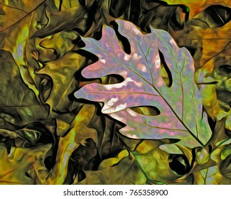 This is a colorful abstract illustration of a single oak leaf on a pile of leaves.