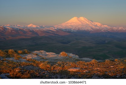 This is colorful Elbrus in Caucasus mountains in morning