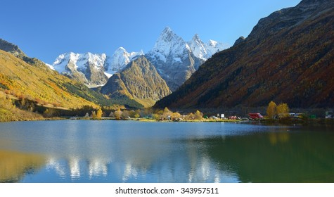 This is colorful lake in Caucasus mountains in autumn