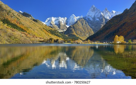 This is colorful landscape in Caucasus mountains in fall