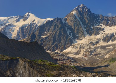 This is colorful summits in Caucasus mountains in summer