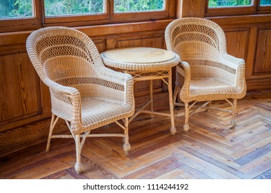 This  couple of Italian wickler chairs with table are part of the original furniture (1910-1920) of a semi-abandoned villa owned by a nobiliar family today extinct.