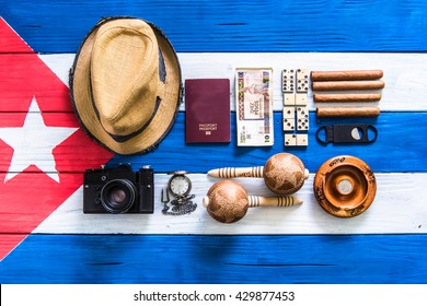 this is Cuba! related items background flat lay