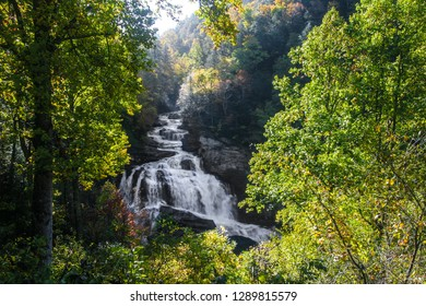 This is Cullasaja Falls, located in the Nantahala National Forest in North Carolina. This very scenic waterfall is actually a series of cascades that total 200 feet in height.