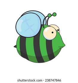 This is a cute cartoon bee that is dark green and black in colour, his wings are transparent.