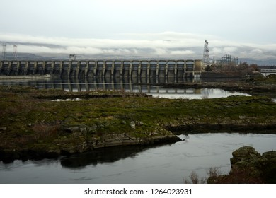 This is The Dalles Dam on the Columbia River.  It was completed in 1954, and flooded the ancient Native American fishing site at Celilo Falls.