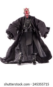 This is a Darth Maul action figure. This Star Wars movie character made by Hasbro. / Ready to fight / Komarom, Hungary - 6th December 2014